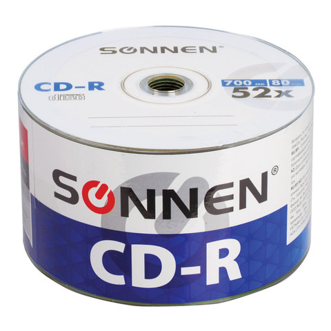Диски CD-R SONNEN, 700 Mb, 52x, Bulk, 50 шт., 512571